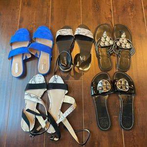 Five (5) pair BUNDLE of designer sandals